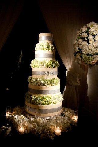 round-wedding-cake-with-hydrangea-tiers