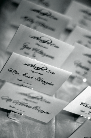 black-and-white-picture-of-place-cards-in-calligraphy