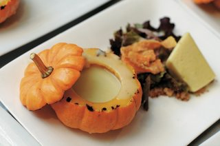 potato-and-leek-soup-in-miniature-pumpkin-bowl