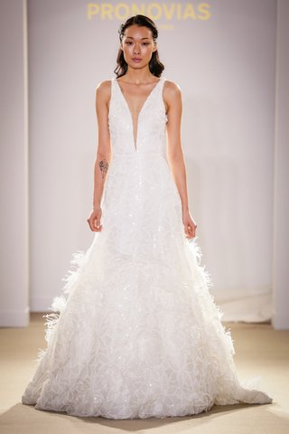 atelier-pronovias-2019-bridal-collection-wedding-dresses-plunging-neck-a-line-feathers