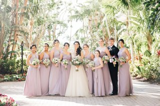 non-traditional-wedding-party-bridesmaids-flower-girl-bridesman-lavender-dresses-and-bouquets