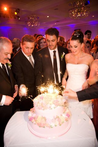 two-layer-pink-cake-with-sparklers-on-top