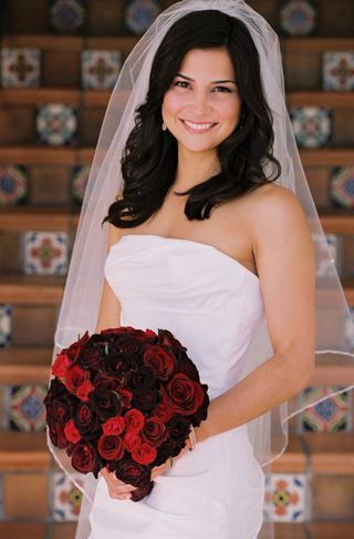 textured-bridal-gown-and-elbow-length-veil