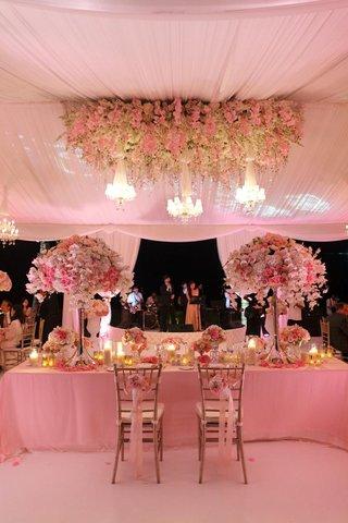 tent-wedding-with-pink-lighting-long-rectangular-sweetheart-table