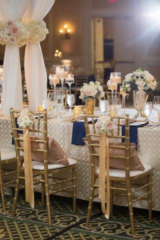 bride-groom-chairs-nosegays-ribbon-north-carolina-wedding-ballroom-reception-navy-gold-white-sheer