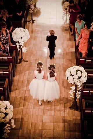 birds-eye-view-of-wedding-children-processional