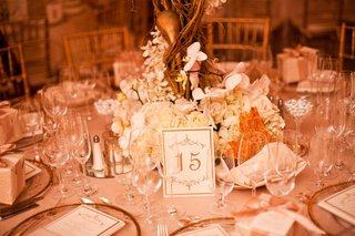 gilt-table-assignment-in-front-of-white-floral-centerpiece