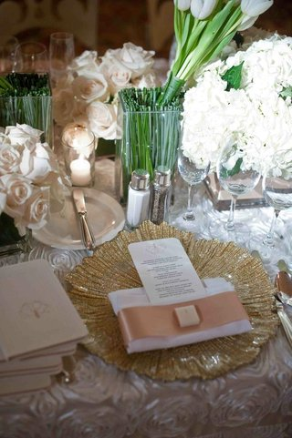 gold-charger-plate-and-ivory-floral-arrangements