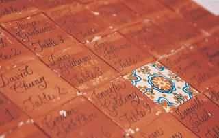 escort-card-on-orange-and-blue-tiles