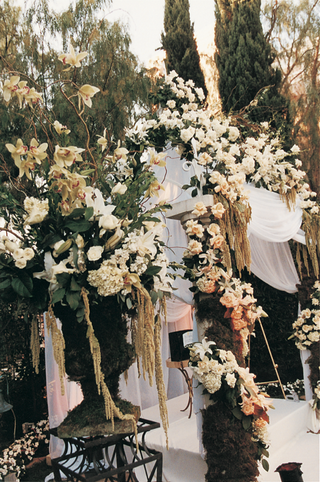 white-outdoor-jewish-wedding-canopy-with-flowers