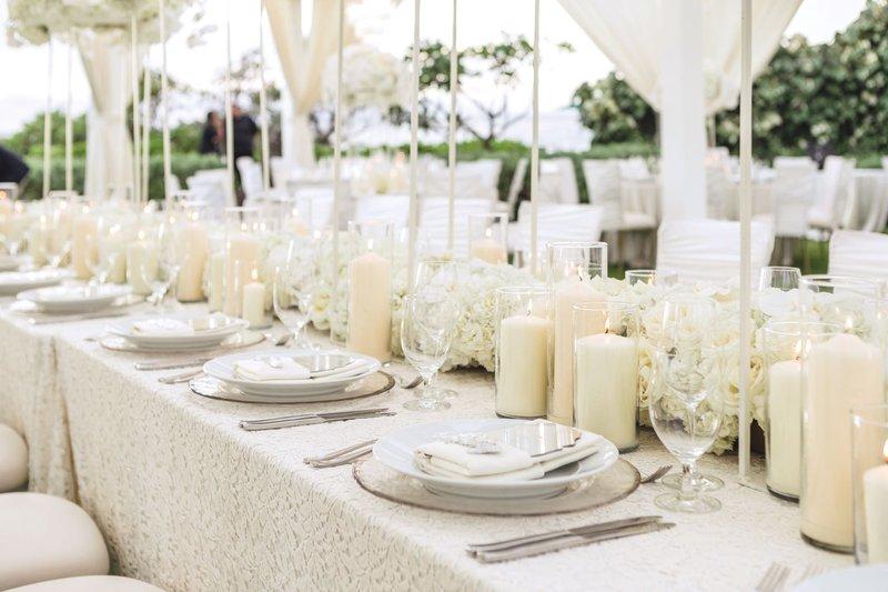 Glamorous White Reception Table