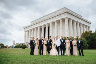 wedding-party-for-washington-dc-wedding-in-front-of-lincoln-memorial-columns-grass-courtyard