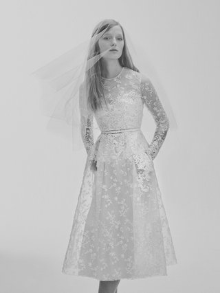 black-and-white-photo-of-elie-saab-bridal-spring-2017-short-long-sleeve-wedding-dress-embroidery