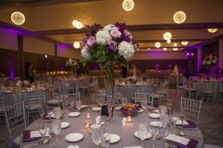 wedding-reception-tall-centerpiece-grey-linen-chandelier-orb-sphere-pink-white-purple-flowers-purple