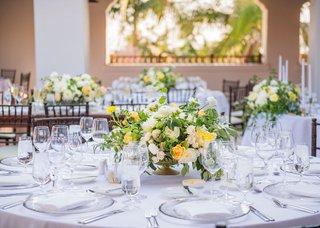 wedding-reception-white-dahlia-pink-white-rose-flowers-greenery-footed-vase-white-linen-summer
