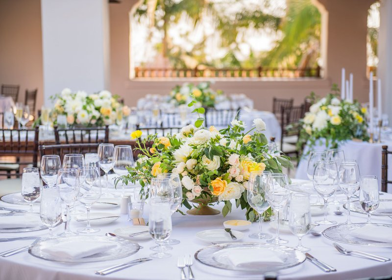 Wedding Reception with Yellow Flowers