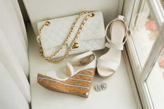 jimmy-choo-sandals-with-cork-wedges-for-wedding-white-chanel-quilted-purse-with-gold-chain-strap