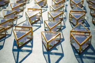 escort-cards-inside-triangular-cases-glass-wedding-reception-hotel-del-coronado-terrarium-greenery