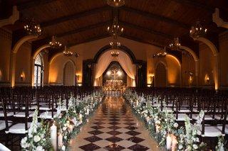grand-del-mar-wedding-ceremony-diamond-pattern-tiles-church-feel-wood-chairs-rustic-elegant-flowers