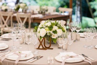 brass-letters-on-table-with-small-flower-arrangement