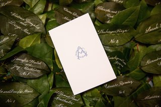 ceremony-program-with-blue-monogram-on-green-leaves