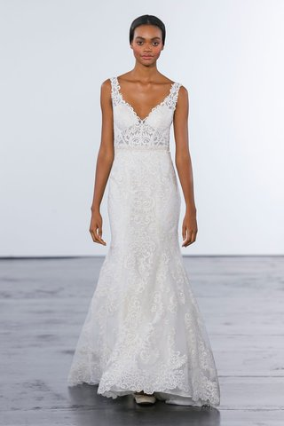 dennis-basso-for-kleinfeld-2018-collection-wedding-dress-v-neck-lace-strap-fit-and-flare-gown