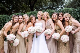 bride-bridesmaids-metallic-gowns-dallas-wedding-classic-trendy-sparkly-bouquets