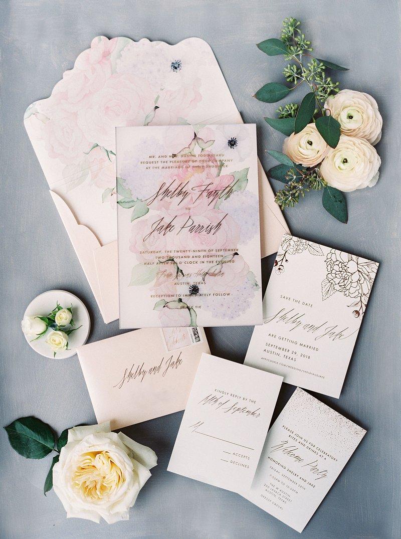 Watercolor Floral Print Wedding Invitation