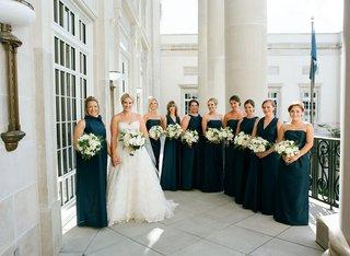 bride-in-oscar-de-la-renta-gown-with-maid-of-honor-and-bridesmaids-differing-necklines