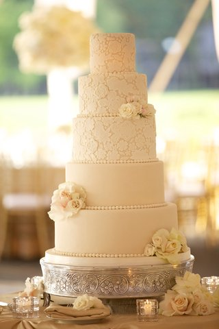 ivory-wedding-cake-with-lace-pattern-and-fresh-flowers