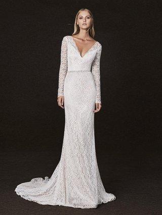 victoria-kyriakides-form-fitting-long-sleeved-v-neck-belt-details-plunging-neckline-wedding-dress