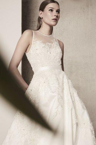 elie-saab-spring-summer-2018-a-line-gown-illusion-neckline-ribbon-belt-floral-details