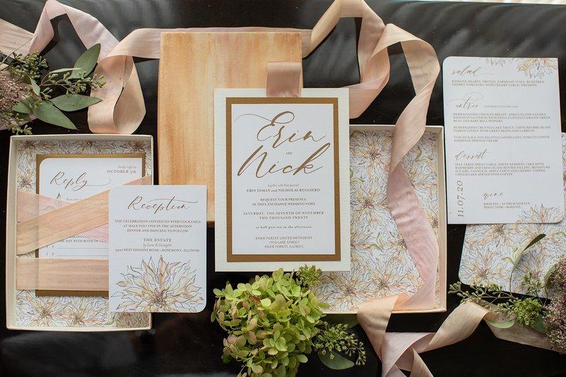 Blush, Champagne & Gold Wedding Invitation