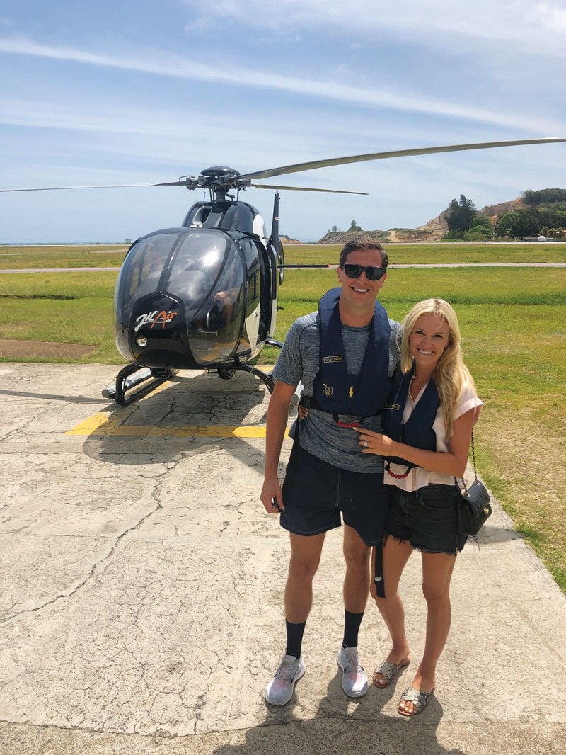 Honeymooners with Helicopter in the Seychelles