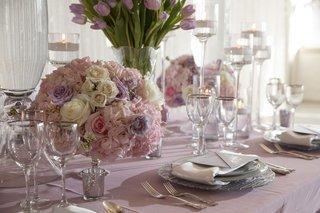 wedding-styled-shoot-lavender-linen-white-purple-pink-rose-centerpiece-silver-glassware