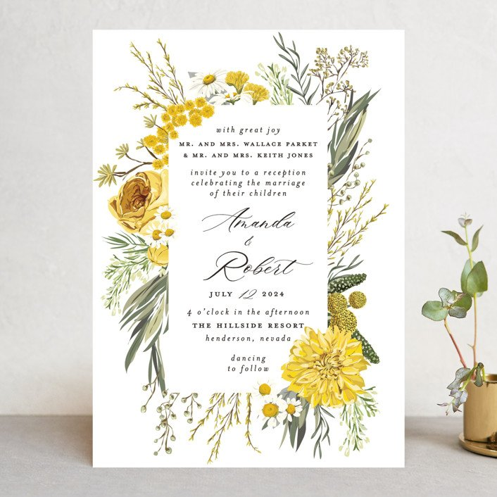 Organic Flowers Wedding Invitation