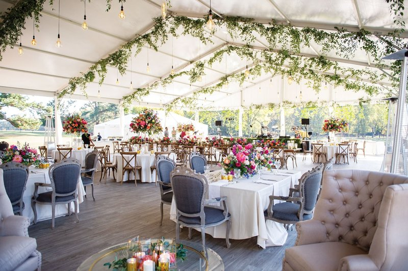 Colorful Tent Wedding Reception in Texas