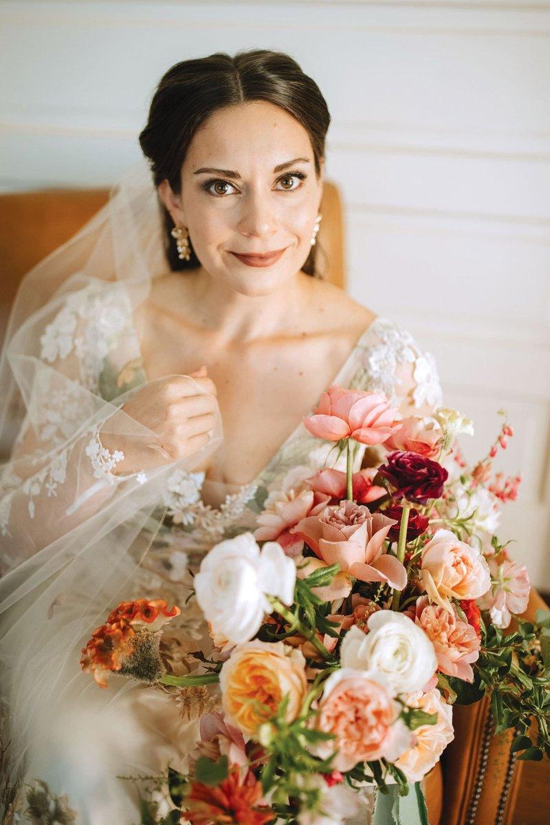 Bride in Claire Pettibone with Fall Bouquet