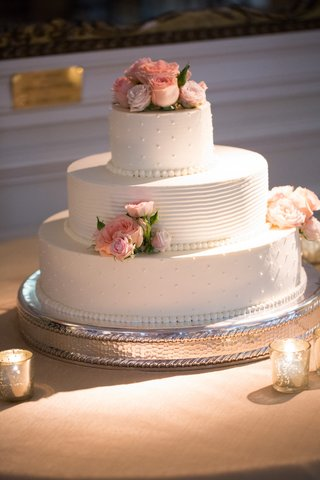 white-wedding-cake-with-swiss-dots-and-fresh-pink-roses-on-top