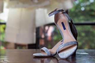 stuart weitzman wedding shoes for bride grey blue silver design metallic glitter