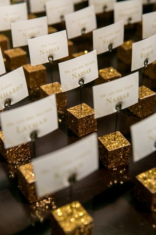 escort-place-cards-gold-cube-holders-shimmery-classic-wedding-washington-dc-fun