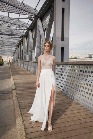 limor-rosen-2017-olivia-wedding-dress-with-high-neck-lace-sheer-sleeveless-top-and-slit-skirt