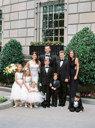 wedding-portrait-photos-flower-girls-ring-bearers-honor-attendant-tuxedos-bow-ties-white-dresses