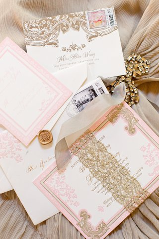 ceci-new-york-pink-gold-invitation-suite-double-happiness-wax-seal-golden-lace-belly-band