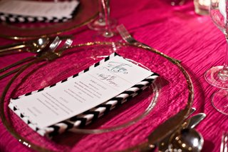 black-and-white-chevron-napkin-at-pink-wedding-table
