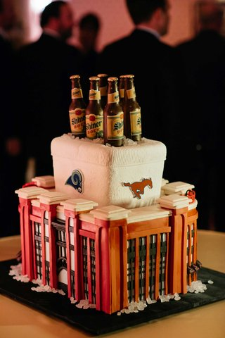 grooms-wedding-cake-with-beer-cooler-and-stadium-design
