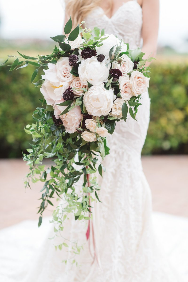 Brimming, Cascading Bouquet with Light, Dark Flowers