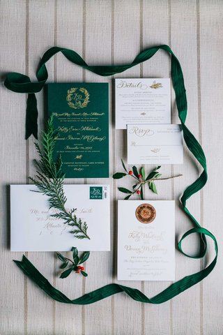 wedding-invitation-green-invitation-gold-calligraphy-velvet-ribbon-calligraphy-gold