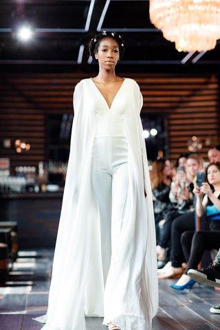 gemy-maalouf-2018-bridal-collection-wedding-dress-bridal-jumpsuit-pant-suit-v-neck-long-cape-wide