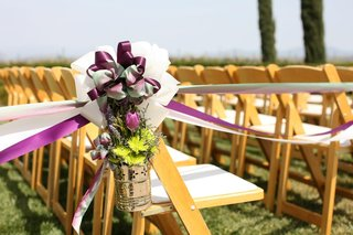 chrome-pail-with-mums-tulips-and-lavender-on-ceremony-chair